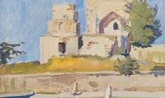 А. Столбов. Мечеть в Шахрисябз. Х.м.,35х50.1964