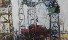 Arseny Semionov. Neva Industrial. Oil on cardboard, 49,7х34,3. 1959