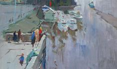 Alexander Semenov. Neva near the bridge of Peter the Great. Oil on cardboard, 5х50. 1966