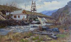 Alexander Semenov.  Altay. Charga. Oil on cardboard, 21,5х35. 1954
