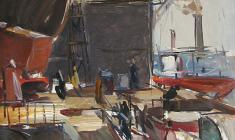 Arseny Semionov. At the Shipyard.  Oil on cardboard, 48,5х34,7. 1960