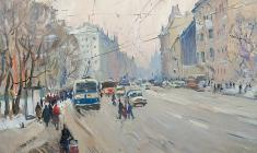 Alexander Semenov.  On Suvorovsky Prospect in Leningrad. Oil on cardboard, 58,5х71. 1975