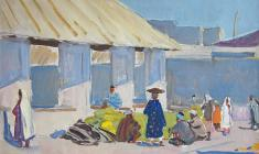 Alexander Stolbov. Bazaar in Shahrisab. Oil on cardboard, 35х50. 1964