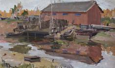 М. Ткачёв. Лодки на причале. Карт.м., 35,3х50,5. 1959