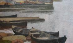 Nikolai Galakhov. Boats in the Soomposad Village. Oil on canvas,95х75. 2003