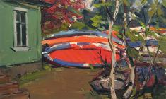 Arseny Semionov. Boats on the Shore. Oil on cardboard, 34,8х48,8. 1960