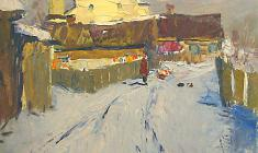 Alexander Semenov. A Clear Day in the Old Ladoga. Oil on cardboard, 50х50. 1964