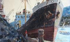 Arseny Semionov. Cargo Port in Yalta. Oil on cardboard, 35х49,4. 1958