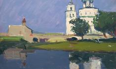 Arseny Semionov.  Cathedral in Pskov. Oil on cardboard, 33,7х48,7. 1958