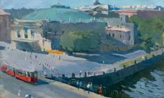 Alexander Stolbov. Circus Ciniselli in Leningrad. Oil on canvas, 60х80. 1959