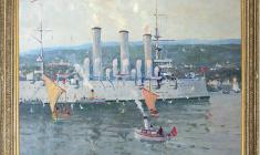 Evgeny Ghuprun (1927 - 2005). Aurora Cruiser in Bergen, Norway. Oil on canvas, 60х80. 1995. Price on request