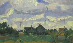 Alexander Semenov. Cloudy day in the Village of Gryazino.  Oil on canvas, 45,5х60,5. 1979
