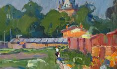 Alexander Semenov.  Chapel Tower in Pushkin. Oil on canvas, 34х36. 1970