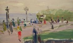 Arseny Semionov.  Embankment in Yalta. Oil on cardboard, 35,3х48,5. 1957