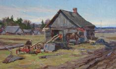 Alexander Semenov. Farm. Oil on cardboard, 22,7х41,2. 1950