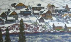 Nikolai Galakhov. First Snow at the  Umba Village. Oil on canvas, 80х90,5. 1985