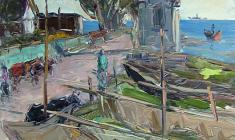 Arseny Semionov. Fishing Village near Strelna. Oil on cardboard, 49,5х35. 1957