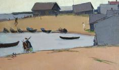 Arseny Semionov. Fishing Village.  Oil on canvas, 44,5х68. 1963