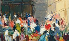 Arseny Semionov. Flower Market.  Oil on cardboard, 48х33. 1959