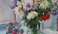 Tatyana Kopnina. Flowers. К Oil on cardboard, 66х49,5. 1957