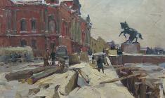 Alexander Semenov. Fontanka near the Anichkov Bridge. Oil on cardboard, ,50х69,5. 1962
