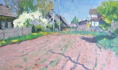 Alexander Semenov.  Gryazino Village.  Oil on cardboard, 56,5х77. 1978