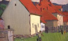 Arseny Semionov.  Группа домов на Западной Украине. Oil on canvas, 49,5х70,2. 1966