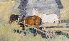 Ivan Varichev. Horses. Oil on cardboard, 30х40. 1963