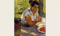 Nikolay Pozdneev. At the Reading in the Summer.  Oil on canvas, 87х48. 1959
