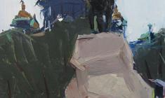 Arseny Semionov. Alexandrovsky Garden. Oil on cardboard, 47,8х32,7. 1964