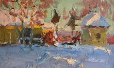 Alexander Semenov.  In the Old Ladoga.  Oil on cardboard, 25х34,7. 1964