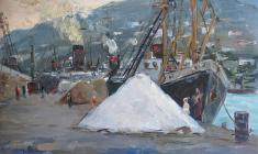 Arseny Semionov. In the Seaport. Oil on cardboard, 34,4х49,6. 1956