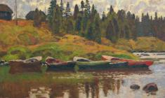 Nikolai Galakhov. Boats at the Bank of the Kuzema. Oil on canvas, 73х97. 1997