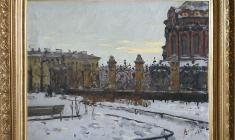 Alexander Korovyakov (1912 - 1993). At the Mikhailovsky Garden in Leningrad. Oil on canvas, 45х55. 1972