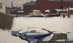 Arseny Semionov. Leningrad in the Winter. Oil on cardboard,,50х69,5. 1965