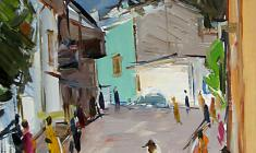 Arseny Semionov.  Street in Yalta. Oil on cardboard, 32,2х48,8. 1958