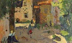 Александр Семёнов. Yard in Rostov the Great. Oil on cardboard, 70х44. 1965
