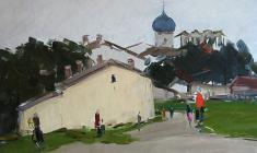 Arseny Semionov.  Pskov Little Street. Oil on cardboard, 34,8х48,8. 1958