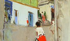 Arseny Semionov.  Little Street in Yalta. Oil on cardboard, 70х49,5. 1958