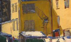 Arseny Semionov. Little Yard. Oil on cardboard, 69,5х53,5. 1962