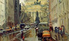 Alexander Semenov. Malaya Sadovaya Street in Leningrad. Oil on cardboard, 70х60. 1979