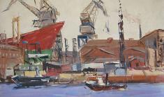 Arseny Semionov. Shipyard in Leningrad. Oil on cardboard, 35х49. 1957