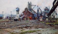 Alexander Semenov. Metallurgical Plant. Oil on cardboard, 29,5х44,5. 1960