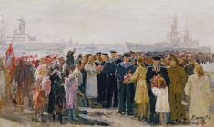 Alexei Mozhaev. Grand Reception of Sailors in Leningrad. Oil on canvas, 38х67,5. 1954