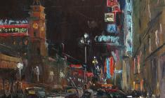 Alexander Semenov. Nevsky Prospect in the Evening Lights. Oil on canvas, 60х60. 1976