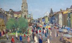 Arseny Semionov. Nevsky Prospect.  Oil on cardboard, 24,7х34,3. 1954