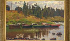 Nikolai Galakhov (b.1928). Boats at the Bank of the Kuzema. Oil on canvas, 73х97. 1997. Price on request