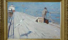 Nikolay Pozdneev (1930 - 1978). On the Pier. Oil on canvas, 81х121. 1959.  Price on request