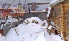 Alexander Semenov. Old Ladoga in Winter. Oil on cardboard,  50х70,5. 1972