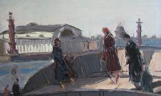 Arseny Semionov. On the Embankment of the Neva. Oil on cardboard, 34х48,5. 1957